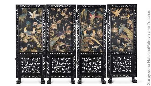 Китайская антикварная ширма. Вышивка на шёлке. Династия Поздняя Цинь, 384 - 417 годы. Фото с сайта http://www.n21ce.com