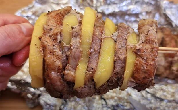 Шашлык из картошки с мясом в духовке. Маринуем по отдельности и соединяем вместе на шампуре