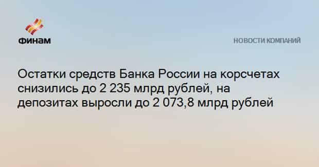 Остатки средств Банка России на корсчетах снизились до 2 235 млрд рублей, на депозитах выросли до 2 073,8 млрд рублей