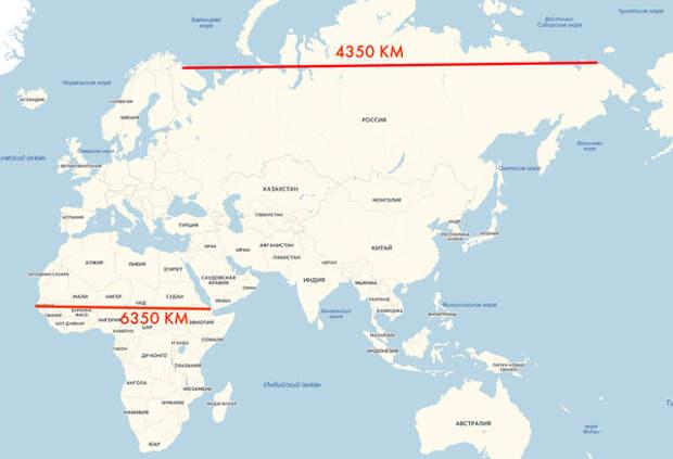 Маленькая Африка и Огромная Россия на проекции Меркатора. (рисунок ЯндексКарты)