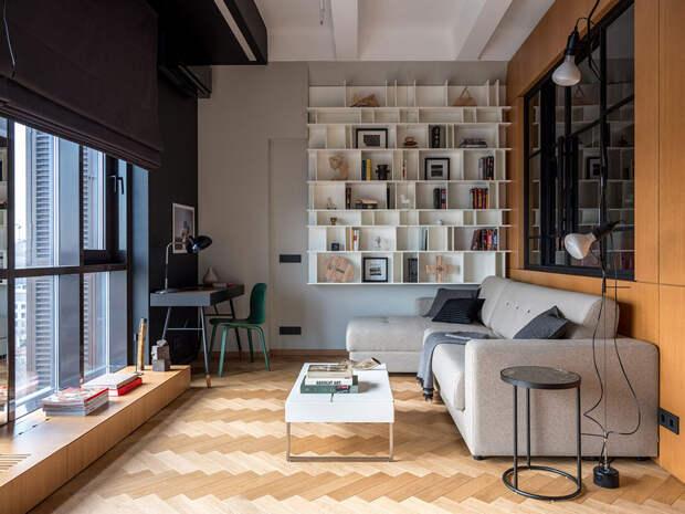 Небольшая квартира с индустриальным характером и 4-метровыми потолками в Москве (52 кв. м)