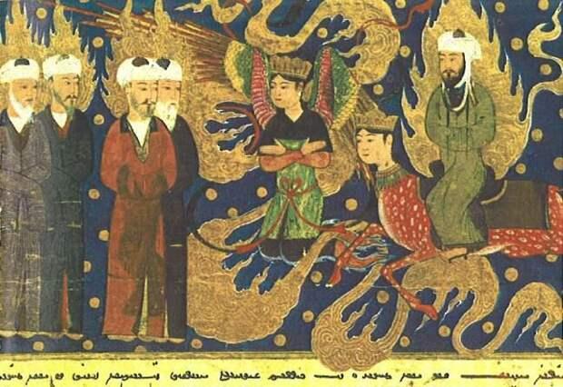 Пророк Мухаммад прибывает на пятое небо, где его встречают пророки Измаил, Исаак, Аарон и Лот