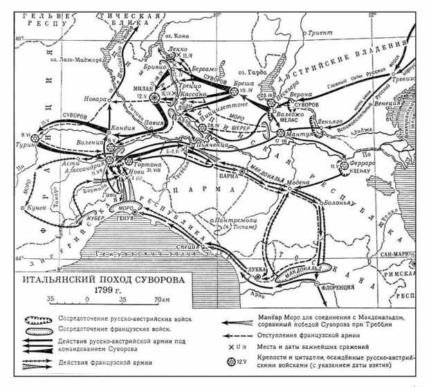 Итальянский  и швейцарский походы Суворова. Части 1-4