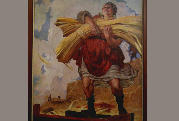 """Колхозница в """"гриндерсах""""! Так и представляю её вместе со снопом на физкультурном параде. Фрагмент картины художника Костяницына В.Н. Колхозница. Насладиться полотном мастера можно в музее г. Владимира. Мы впечатлились."""
