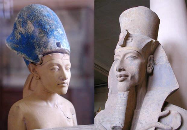 Портреты Эхнатона в молодости и в пору расцвета.