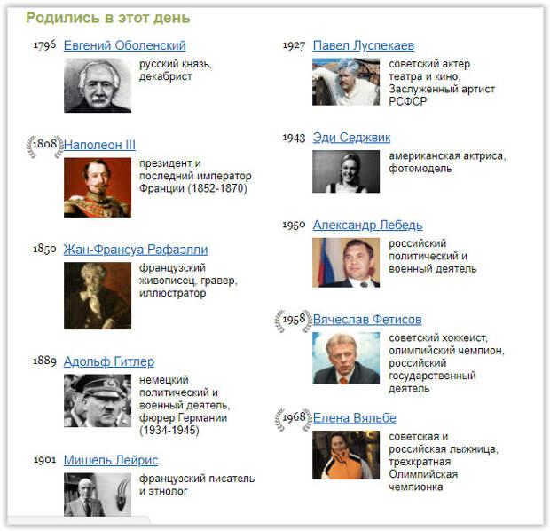 Скриншот с сайта http://www.calend.ru за 20 апреля