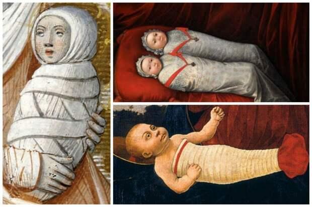 Средневековая Европа, в частности Франция интересное, младенцы, ношение, обычаи, пеленание, факты