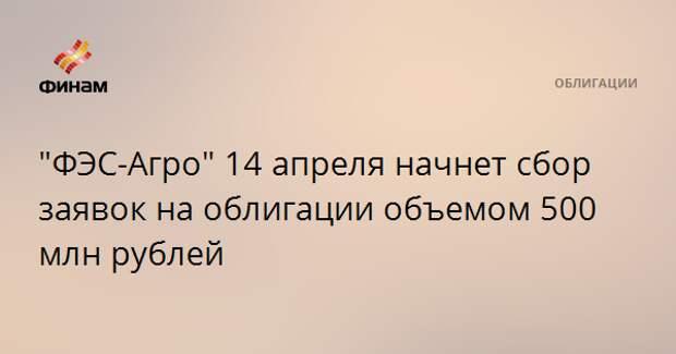 """""""ФЭС-Агро"""" 14 апреля начнет сбор заявок на облигации объемом 500 млн рублей"""