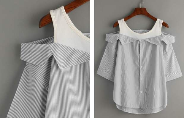 Блузка из майки и рубашки