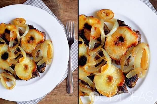 Печень с яблоками