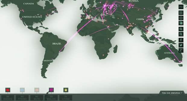 Карта компьютерных атак в конкретный момент времени  (скрин)
