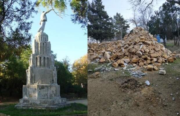 На фото памятник Ленину, разрушенный в Крыму в прошлом году к приезду Путина