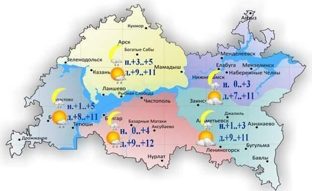 Сегодня в Татарстане ожидается до +13 градусов