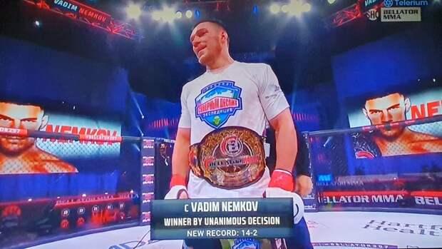 Немков победил Дэвиса наBellator 257 изащитил чемпионский пояс