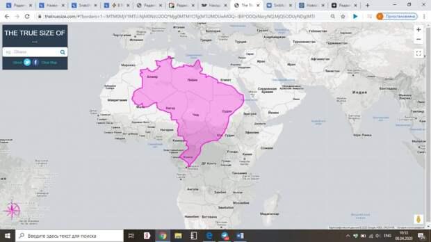 5 карт, на которых видны реальные размеры стран