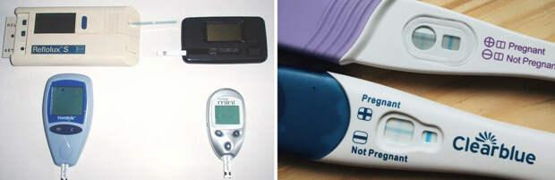 Эта картина ясно дает нам представление о том, как биосенсорная технология развивалась со временем. Самые большие глюкометры-это первые разработанные (1983) с 2-минутным временем считывания и самые маленькие ручные устройства с новейшей технологией (2004) с 7-секундным временем считывания. Тест-наборы для беременных-это датчики на основе антител для обнаружения ХГЧ, биомаркера беременности. Одиночная линия является отрицательным показателем беременности, в то время как наличие двух линий указывает на беременность. (Фоторедакт: twenty20)