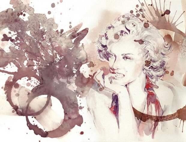 Художница рисует красным вином