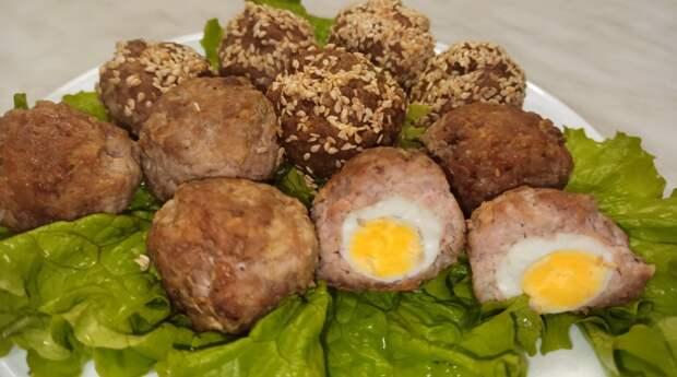 Вкусная закуска - перепелиные яйца в мясном фарше.