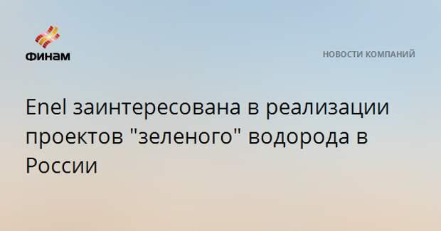 """Enel заинтересована в реализации проектов """"зеленого"""" водорода в России"""