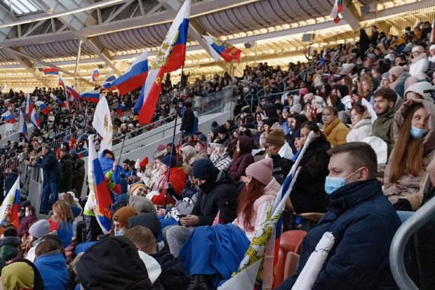 Митинг-концерт в Лужниках в честь годовщины присоединения Крыма к России.