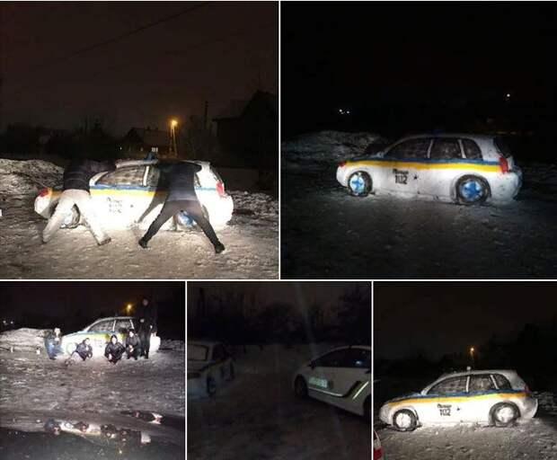 В Днепре из снега слепили патрульный автомобиль. На место вызвали настоящую полицию