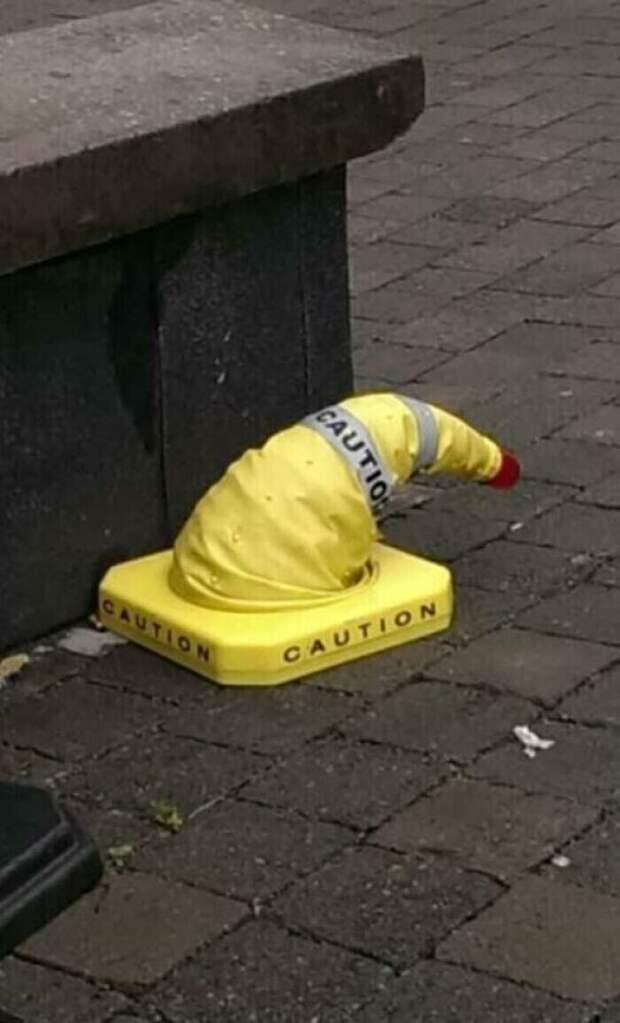 Кажется, это распределительная шляпа из Хогвартса замаскировалась под конус дорожного ограждения