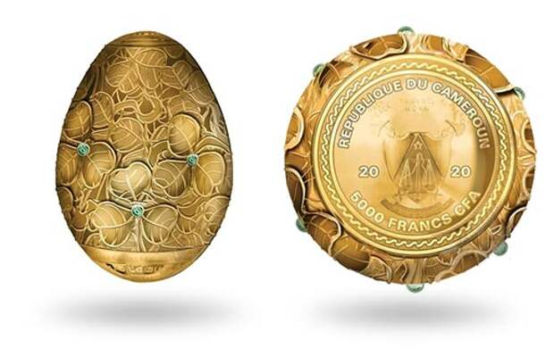 Камерун эмитировал монету в форме яйца Фаберже из серебра