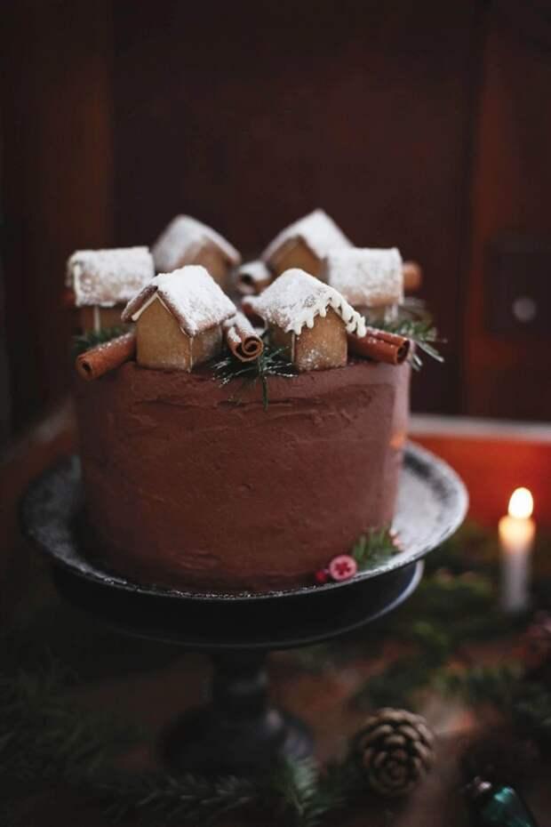Торт Новогодняя деревня