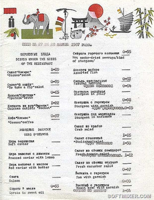 Московские рестораны советских времён