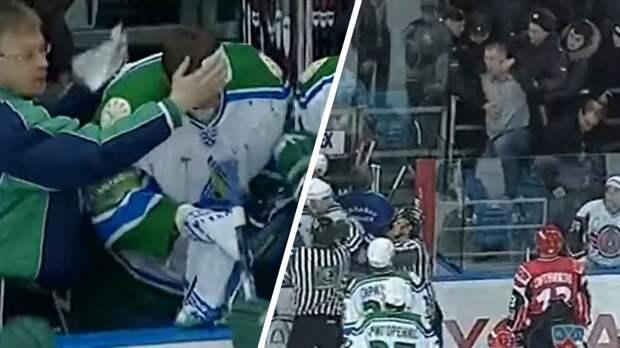 Скандальная драка в российском хоккее. Болельщик разбил голову вратарю Колеснику ударом клюшки: видео