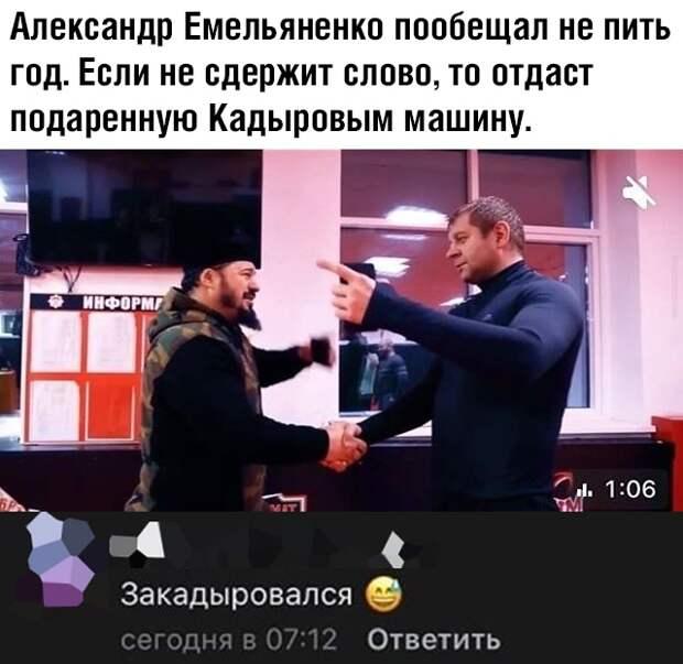 Александр Емельяненко пообещал не пить год