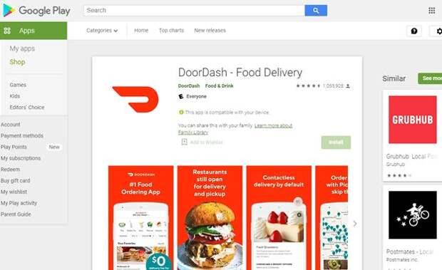 Мобильное приложение Door Dash в Google Play