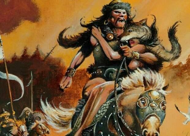 Конь гунна сходит с ума от брутальности происходящего.