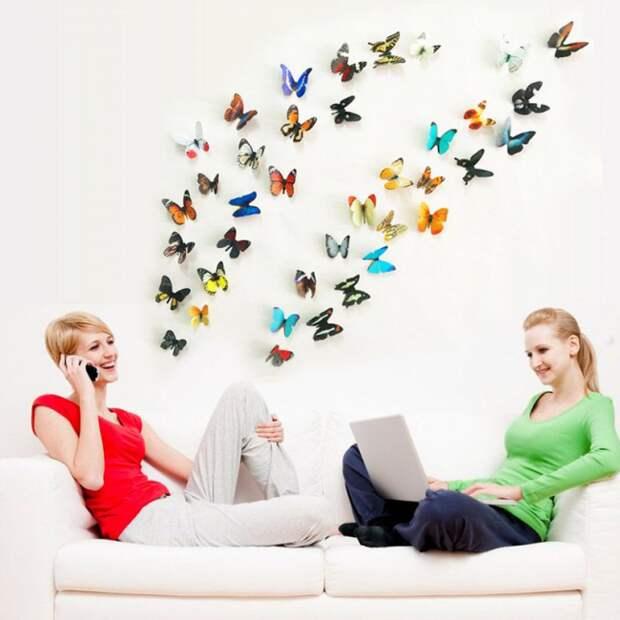 Готовое цветное украшение для стен из бабочек