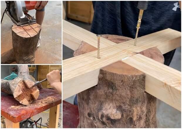Этот мастер умеет удивлять: отличная идея переработки древесины с изюминкой