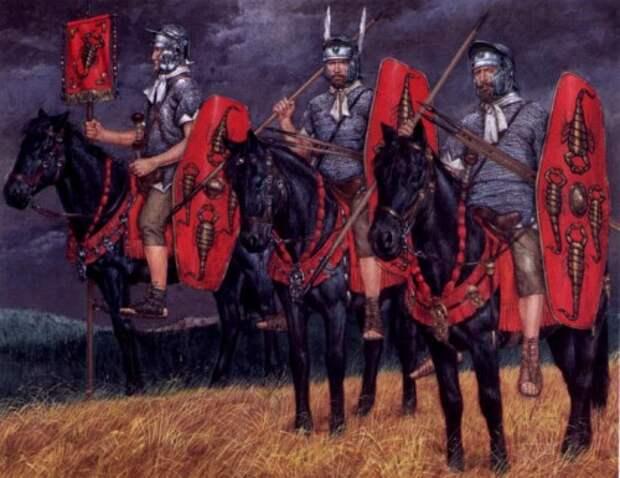 Преторианская кавалерия (первая дакийская война, 101-102 гг. н.э.): 1 - вексиларий; 2 - опций; 3 - кавалерист