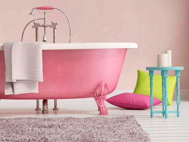 Дизайн ванной комнаты в розовом цвете