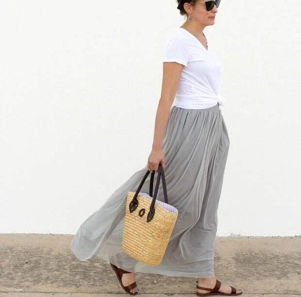 Двухслойная длинная юбка без выкройки