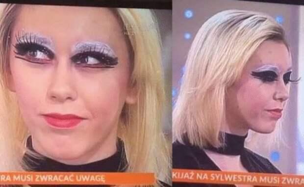 блондинка с неудачным макияжем
