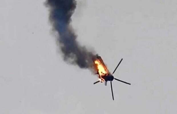 Опубликованы кадры уничтожения над Карабахом военного вертолета