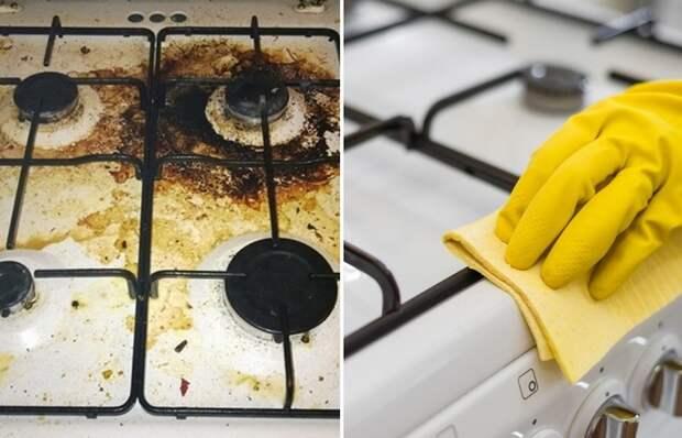 Элементарный способ отчистить въевшийся жир на кухне с плиты и шкафчиков