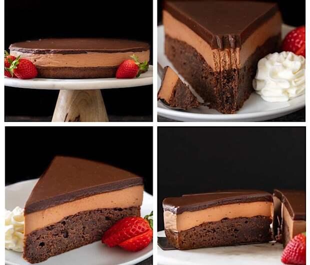 Трехслойный шоколадный торт с Нутеллой