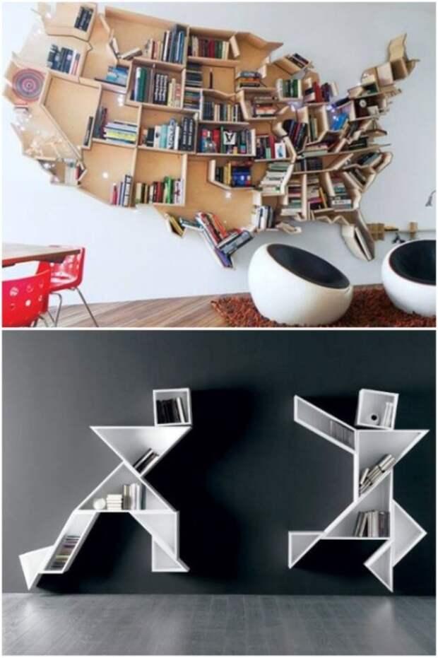 Экстравагантные мебельные композиции в виде полок выступают как единый ансамбль в интерьере комнаты.| Фото: pinterest.com.