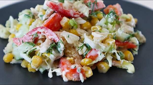 Куриная грудка овощи Потрясающе вкусный салат который никогда не надоест (рец...