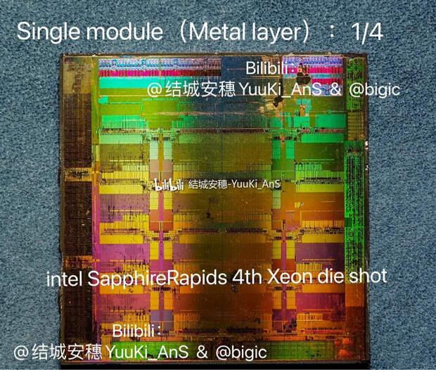 56-ядерный монстр Intel под микроскопом. Процессор SapphireRapids содержит четыре кристалла с 15 ядрами в каждом