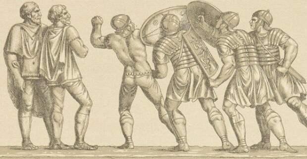Римские легионеры в графике Альберта Рачине