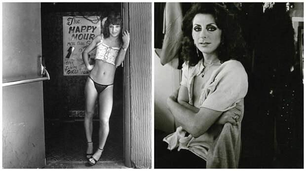 Девушка у бара (слева) и, по всей видимости, участник шоу трансвеститов 80-е, сша, фотография