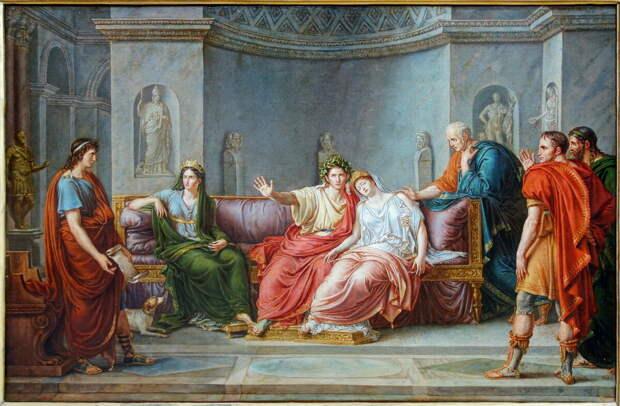 Вергилий читает «Энеиду» Августу и Октавии (худ. Жан-Батист Жозеф Викар, около 1800 г.)