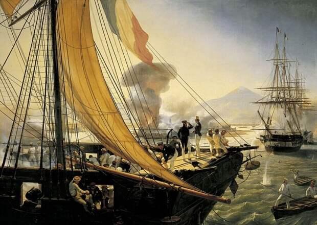 Бомбардировка французским флотом форта Сан-Хуан-де-Улуа (источник изображения - polzam.ru)