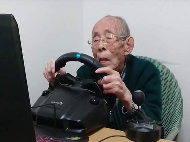 """Долгожитель из Японии стал популярным """"автогонщиком"""""""